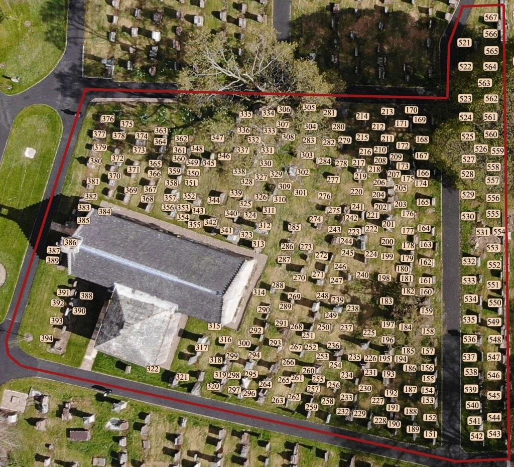 Auchinleck Churchyard Lairs 151-394 and 521-567